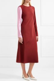 Two-tone silk-satin and crepe midi dress by Tibi at Net A Porter