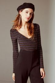 UO Deep V Striped Wrap Top at Urban Outfitters