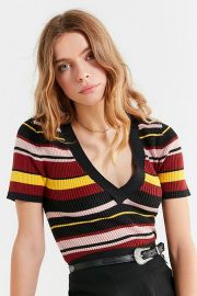 UO Ellis V-Neck Short Sleeve Sweater at Urban Outfitters