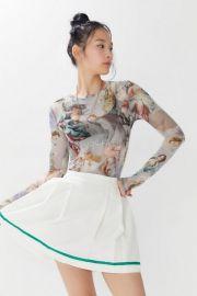 UO Mona Printed Sheer Mesh Long Sleeve Top at Urban Outfitters