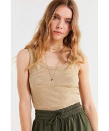 UO Ribbed Knit Cropped Tank Top at Urban Outfitters
