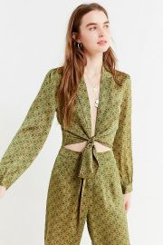 UO Satin Paisley Tie-Front Top at Urban Outfitters