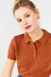 UO Shrunken Fuzzy Polo Sweater at Urban Outfitters