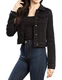 URBAN K  Long Sleeve Distressed Button Up Denim Jean Jacket at Amazon