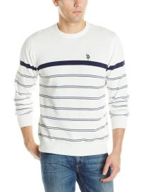 US Polo Assn Menand39s Engineered Stripe Crew Neck Sweater in white at Amazon