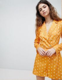 Unique 21 Tuxedo Romper In Polka Dot at asos com at Asos