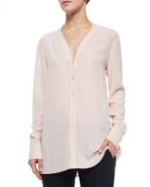 V-Neck Button-Down Silk Blouse at Bergdorf Goodman