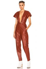 V-Neck Leather Jumpsuit by Zeynep Arcay at Forward