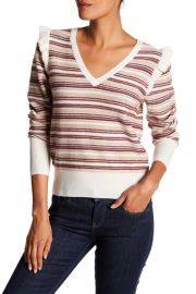 V-Neck Long Sleeve Striped Wool Blend Sweater at Nordstrom Rack
