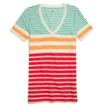 V Neck Pocket tee in stripe by Madewell at Madewell
