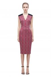 V Neck Print Fitted Dress at Victoria Beckham