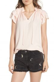 V-Neck Ruffle Sleeve Top at Nordstrom Rack
