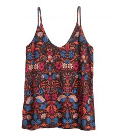 V-neck Camisole in Black Floral at H&M
