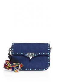 VALENTINO GARAVANI - Rockstud Rolling Denim Guitar-Strap Shoulder Bag at Saks Fifth Avenue