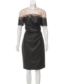 VALENTINO LACE TRIM WOOL DRESS at The Real Real