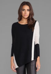 VELVET BY GRAHAM and SPENCER Pauline Cashmere Classics Loose Long Sleeve w Asymmetrical Hem in Black Petal at Revolve