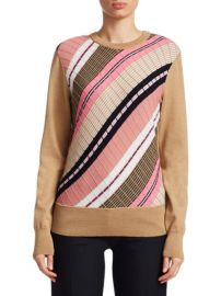 VICTORIA BECKHAM - DIAGONAL STRIPE WOOL SWEATER at Saks Fifth Avenue