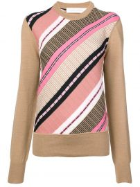 VICTORIA BECKHAM DIAGONAL STRIPES KNIT SWEATER - NEUTRALS at Farfetch