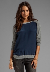VINCE Colorblock Raglan in Coastal at Revolve