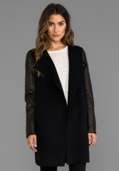 VINCE Double Face Wool Coat with Leather Sleeves in Black at Revolve