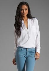 VINCE Silk Half Placket Pocket Shirt in White at Revolve
