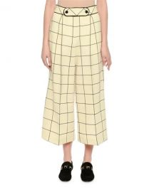 Valentino Cropped Wide-Leg Windowpane Trousers at Neiman Marcus