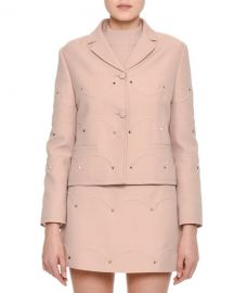 Valentino Rockstud Scalloped Crepe Jacket at Neiman Marcus