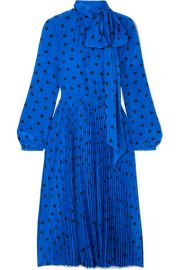 Valentino - Pussy-bow pleated printed silk midi dress at Net A Porter