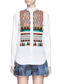 Valentino Bead Embroidered Bib Poplin Shirt at Lane Crawford