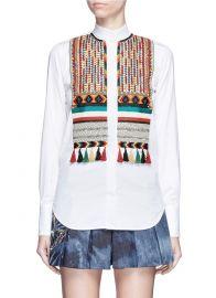 Valentino Bead Embroidered Bib Poplin Shirt at Lane Crawford