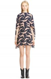 Valentino Bird Print Silk Cape Sheath Dress at Nordstrom