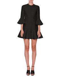 Valentino Flared-Trim 3 4-Sleeve Dress at Neiman Marcus