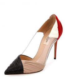 Valentino Garavani B-Drape Leather 100mm Pump  Red Black Ivory at Neiman Marcus