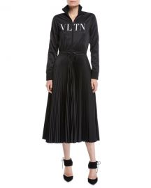 Valentino Long-Sleeve Zip-Front Jersey VLTN-Logo Plisse Bottom Mid-Calf Dress at Neiman Marcus