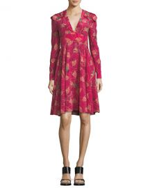Valentino Lotus-Print Silk V-Neck Dress at Neiman Marcus