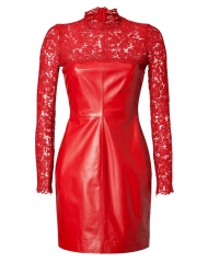 Valentino Red Leather and Lace Dress at Stylebop