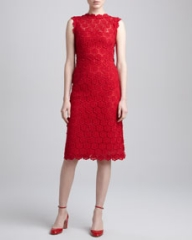 Valentino Rose Guipure Lace Sheath Dress Rouge at Neiman Marcus