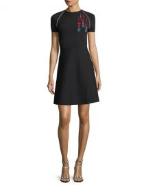 Valentino Short-Sleeve Lipstick-Sequined Stretch Knit Dress   Neiman at Neiman Marcus