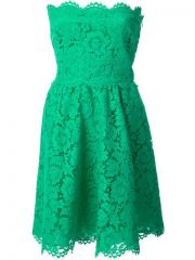 Valentino Strapless Floral Lace Dress - at Farfetch