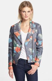 Veda Lazer Print Leather Jacket at Nordstrom