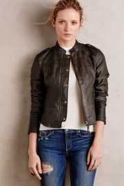 Vegan Leather Bomber in Grey at Anthropologie