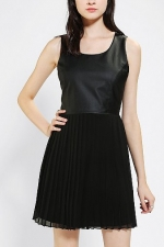 Vegan leather and pleated dress by Sparkle and Fade at Urban Outfitters