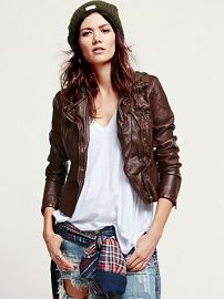 Vegan leather hooded jacket at Free People