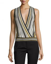 Velda Metallic Striped Surplice Top at Neiman Marcus