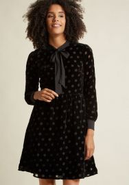 Velvet Burnout Shirt Dress with Neck Tie at ModCloth