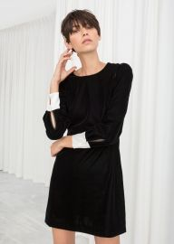 Velvet Pearl Button Mini Dress at & Other Stories