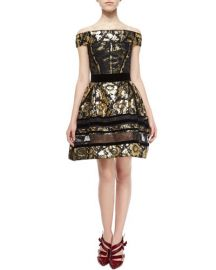 Velvet-Trim Brocade Dress With Lace Insets by Oscar de la Renta at Bergdorf Goodman