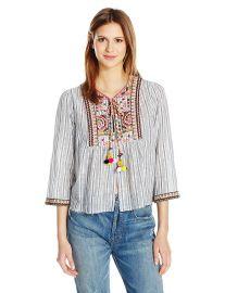 Velvet by Graham  amp  Spencer Women s Embroidered Cotton Stripe Shirt Jacket at Amazon