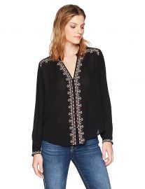 Velvet by Graham  amp  Spencer Women s Remi Embroidered Shirt at Amazon