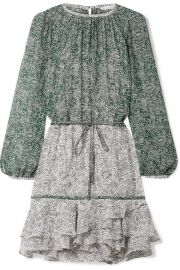 Veronica Beard   Dorado ruffled floral-print silk-chiffon mini dress at Net A Porter